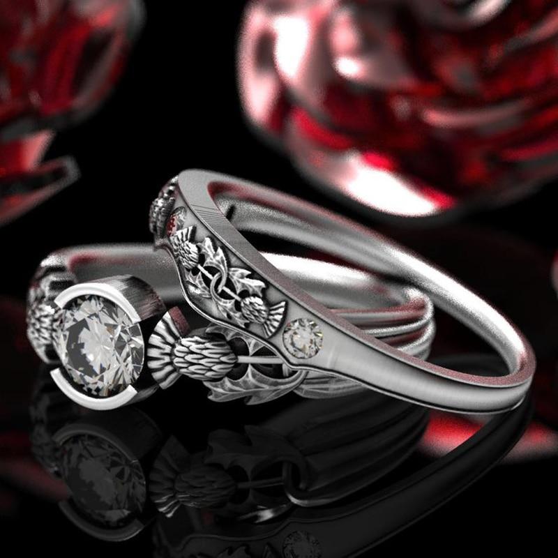 2 unids/set tallado Escocia nacional flor cardo claro azul circón anillo hombres mujeres conjunto de anillos de boda regalo de San Valentín joyería Enagua blanca Underskirt flor niña vestidos de boda accesorios 3 aros niños Crinoline 3-12 años niñas Puffy enagua