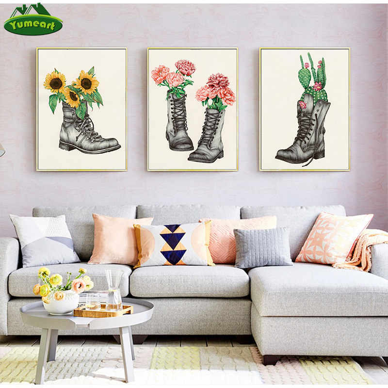 Yumeart Modern Canvas Wall Art Cactus And Peony Home Decor Boots And Sunflower Artwork Bedroom Wall Decoration Home Decor Poster Aliexpress,Three Bedroom Modern 3 Bedroom House Designs Pictures