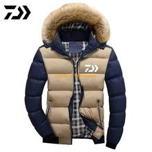 New Men DAIWA Fishing Jacket Coats Thicken Warm Winter Windproof Jackets Outdoor Mens Fishing Down Parka Hooded Outwear Jacket