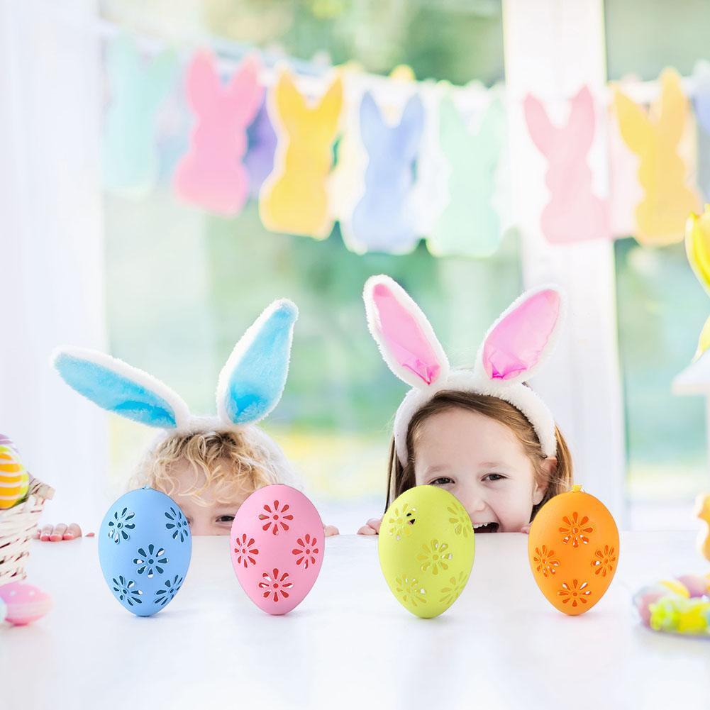 6/18/20 piezas huevos de Pascua pintados a mano juguetes decorativos colgantes DIY huevos pintados a mano para niños Pascua creativa Reloj de pared DIY a la moda, pegatinas acrílicas personalizadas para espejo, reloj de cuarzo decorativo grande para sala de estar