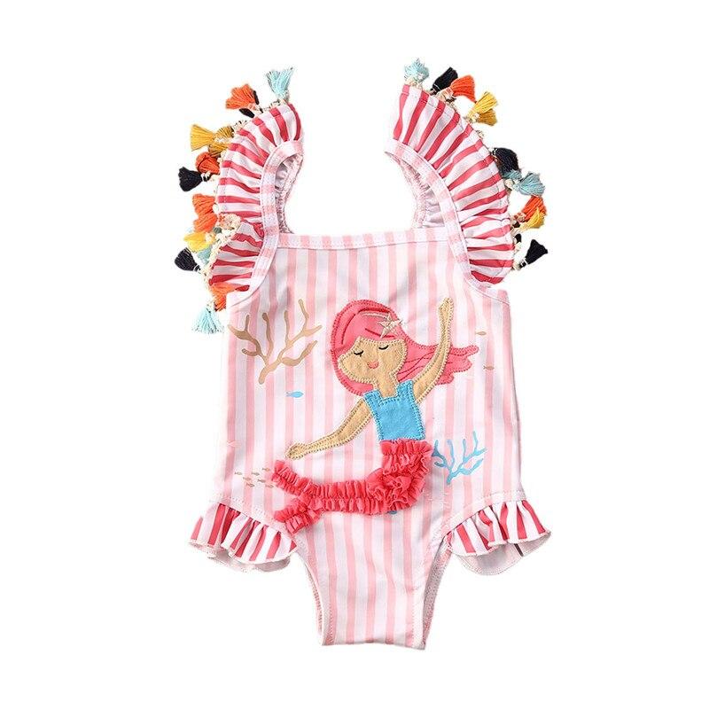 Bañador Floral de dibujo de sirena de una pieza, traje de baño sin mangas con borlas y Espalda descubierta, ropa de baño para niños, ropa de playa, ropa de baño