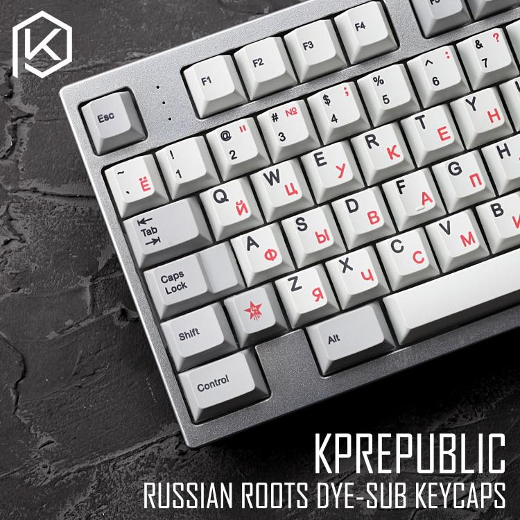 Kprepublic 139 Russia Russian Root Font Cherry Profile Dye Sub Keycap Set PBT Gh60 Xd60 Xd84 Cospad Tada68 Rs96 87 104 Fc660
