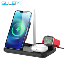 4 in 1 Lift Foldable 15W Qi Fast Wireless Charger Stand For iPhone 12 11 X 8 Apple Watch Holder Wireless Charger for Airpods Pro