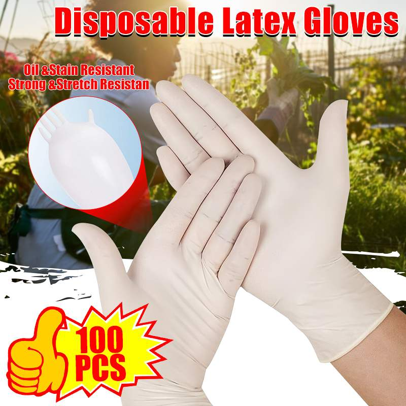 S/M/L 100pcs Food Grade Disposable Latex Gloves Universal Household Cleaning Gloves Kitchen Food Gloves Working Safety Gloves