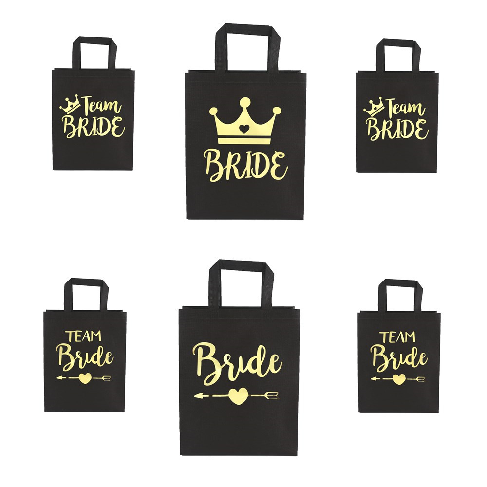 Wedding Decoration Bachelorette Party Decorations Gold Team Bride Non-woven Bag Hen Night Party Bride To Be Bridal Shower Gifts