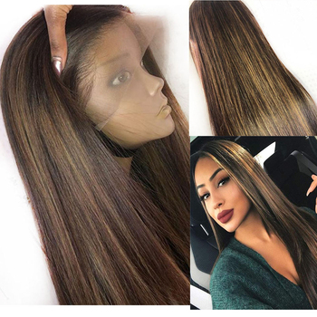 SimBeauty 13x6 Lace Front Wig Straight Honey Blonde Highlights Full Lace Middle Part Remy 360 Frontal Human Hair Wigs PrePlucked