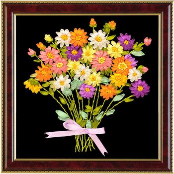 1 Pc 3D DIY pastoralne kwiaty Beadwork haft wstążka dla początkujących zestawy do szycia ścieg krzyżykowy sztuka rzemiosło szycia wystrój tanie i dobre opinie Obrazy Floral Składane Jedwabiu Nieuporządkowanych robótki Europa PAPER BAG embroidery ribbons home decoration
