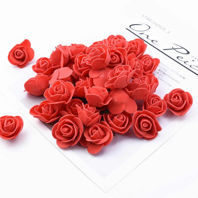 100 sztuk pluszowy miś na ślub róż diy prezent walentynki prezent sztuczne kwiaty nowy rok świąteczne dekoracje do domu