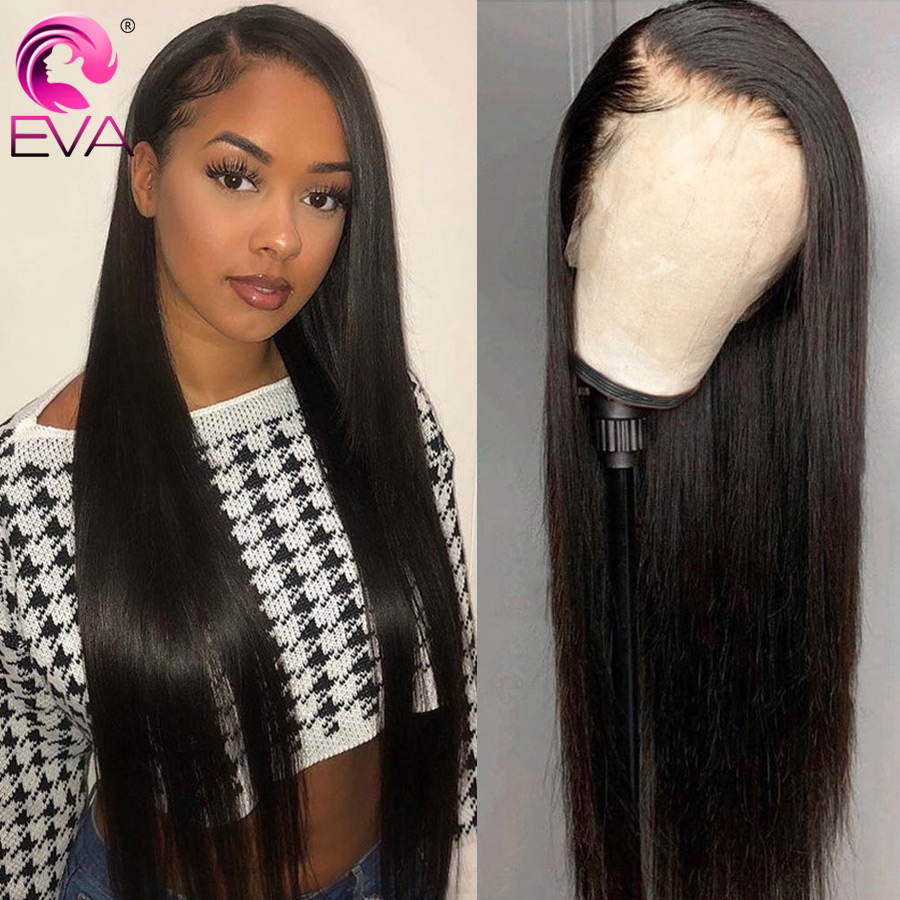 Eva 360 Lace Frontal Wig Pre Plucked With Baby Hair Glueless Straight Lace Frontal Human Hair Wigs Bleached Knots Brazilian Remy