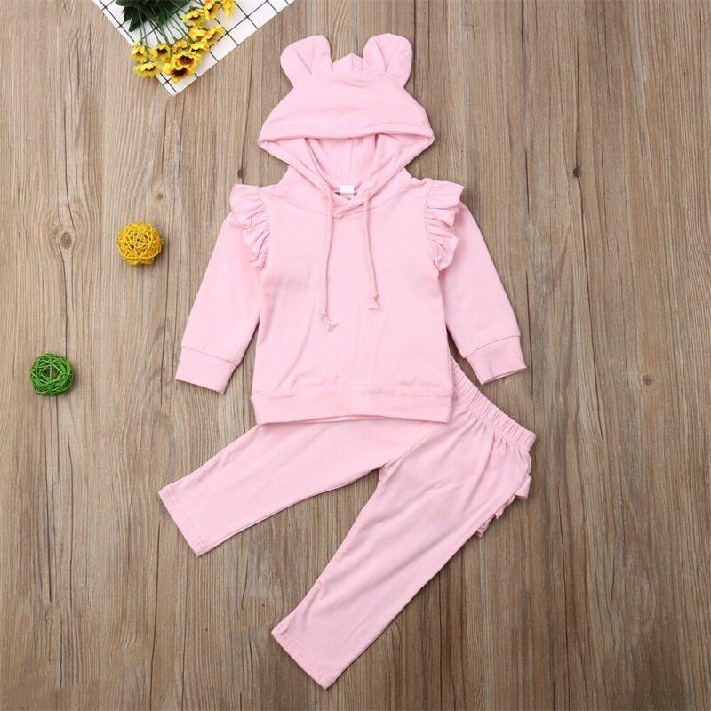 Baby Rabbit Ear Hooded Sweatshirt Kangaroo Pocket Long Casual Pants Triangle Pattern 2Pcs Outfit Set