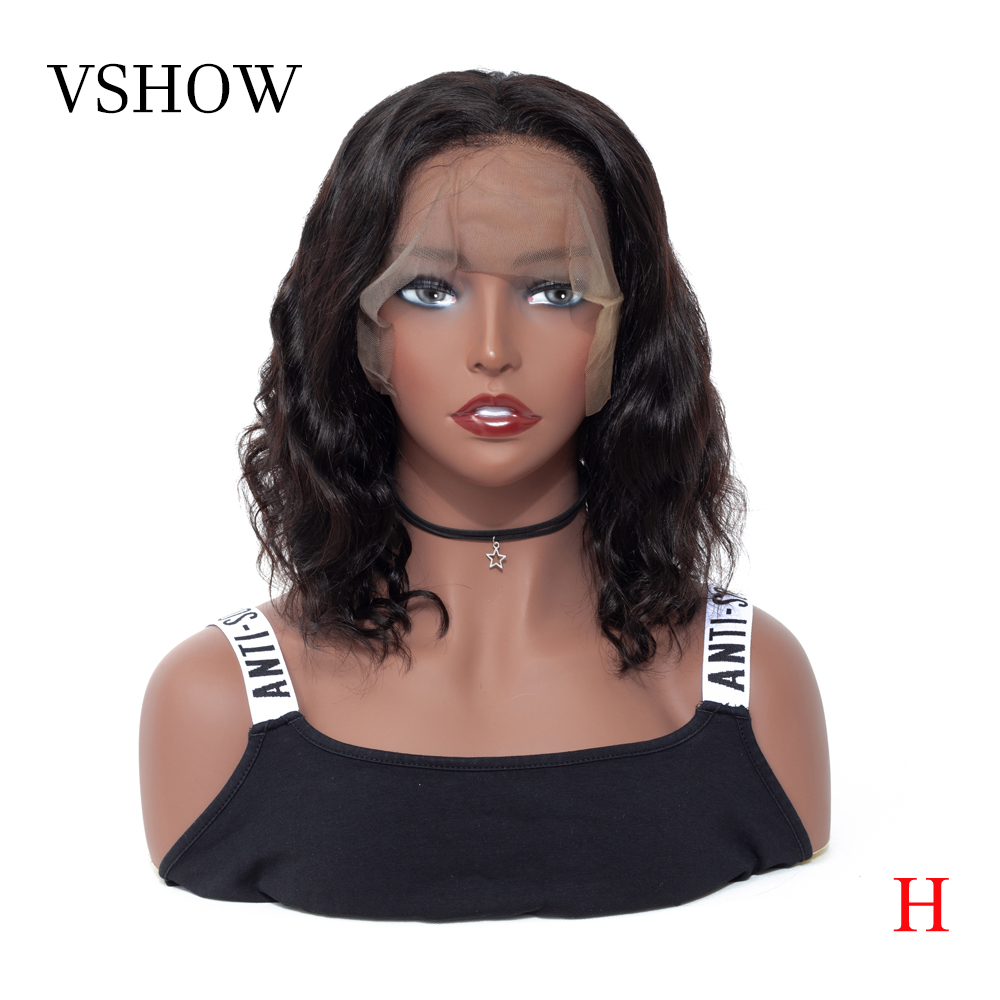13*4 Peruvian Body Wave Lace Front Wigs VSHOW Remy Hair Short Bob Wig Natural Color 130% 150% 180% Density Human Hair Wigs