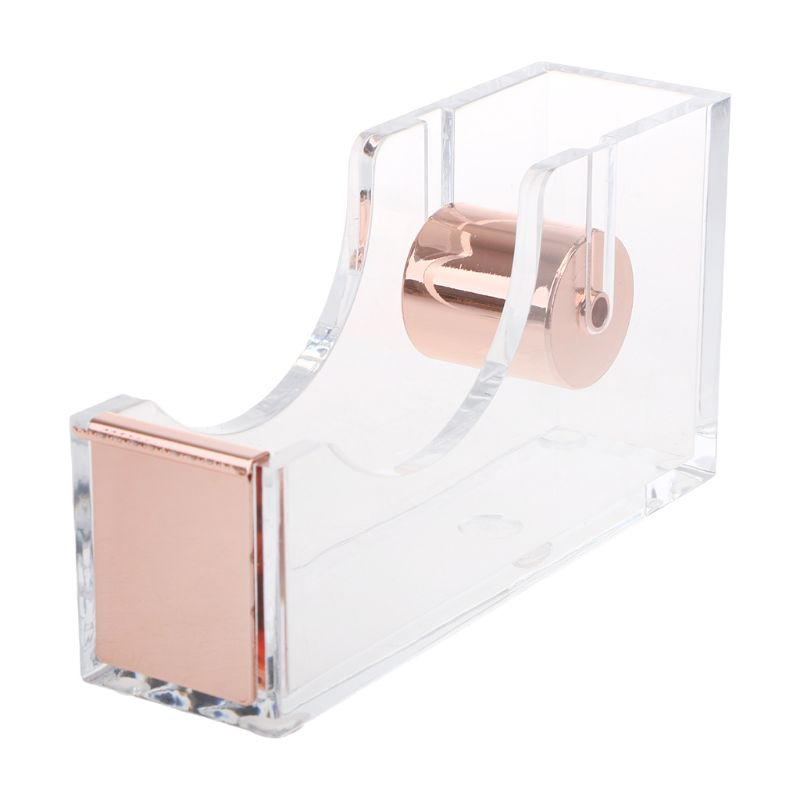 Luxury Clear Acrylic Ribbon Adhesive Band Washi Tape Dispenser Cutter Desktop Stationery 2 Colors W91A