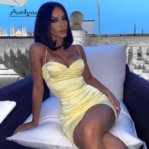 Avrilyaan yellow Pleated Backless Autumn Dress Women Spaghetti Strap Mini Party Dresses Vestido Night Club Sexy Dress Clothes