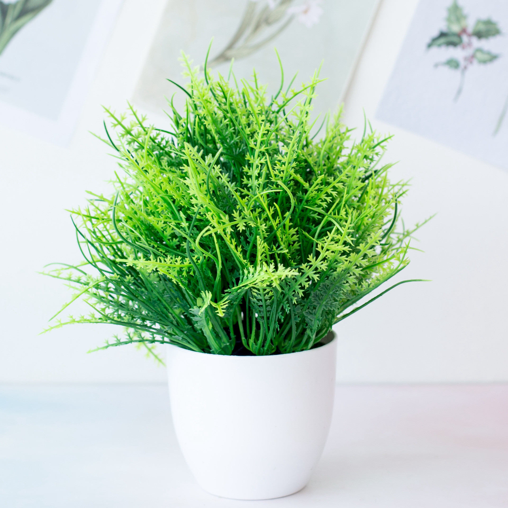 1pc Artificial Plants Green Bonsai Small Tree Pot Plants Fake Flower Potted Ornaments for Home Decoration Craft Plant Decorative 5