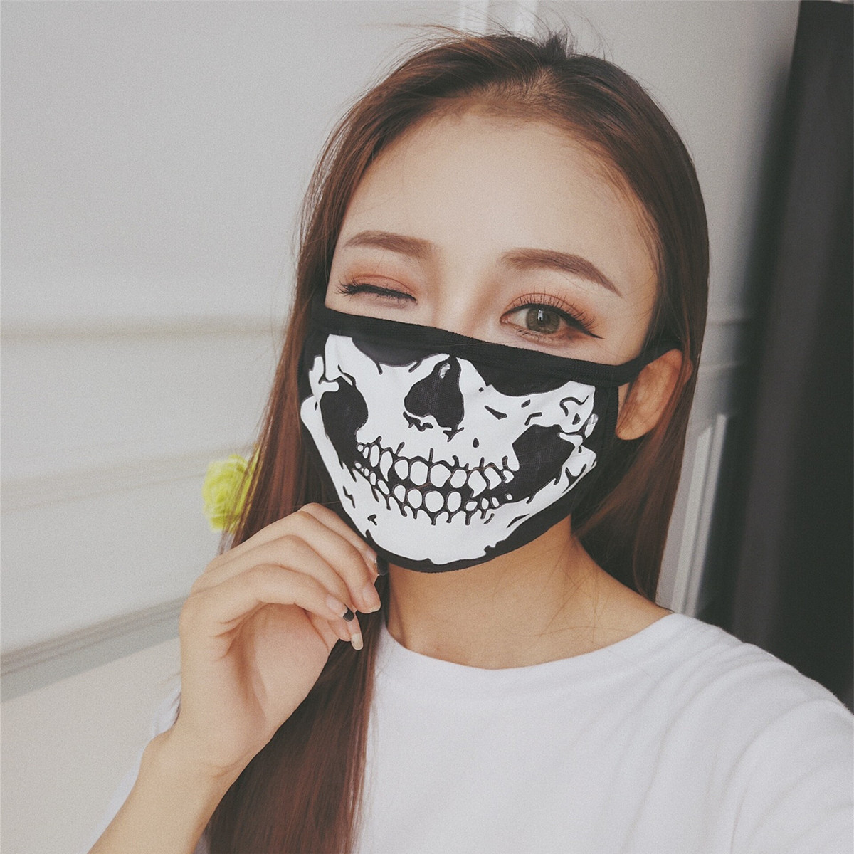 Skull Washable Dust Face Mouth Protections Anti-dust Black Skeleton Tooth Print Mouth Face PM2.5 Unisex Covers Dust Face Masks