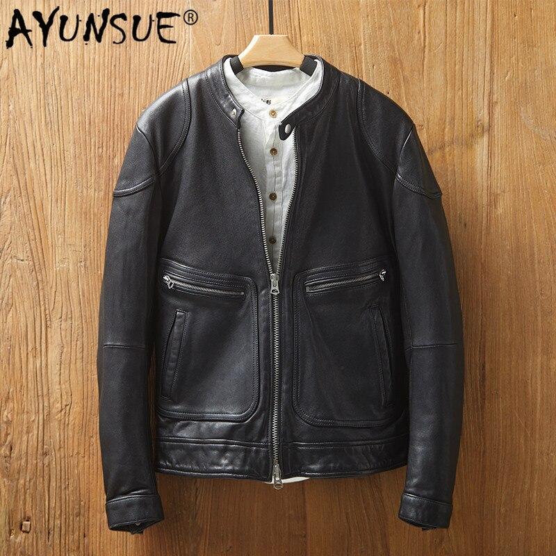 AYUNSUE Men's Sheepskin Coat Genuine Leather Jacket Men Spring Autumn Short Motorcycle Biker Jacket Fashion MG9-k9115 KJ4427