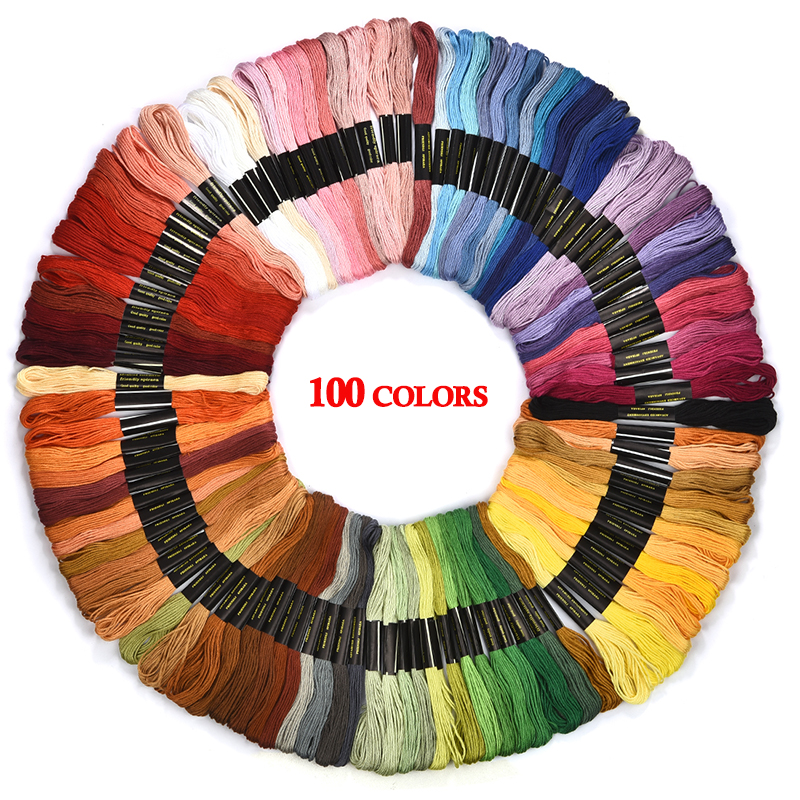 8m Black White Cotton Thread Floss Embroidery Cross Stitch 6 skeins HIGH QUALITY