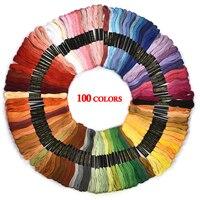 Renkli çapraz dikiş iplikleri pamuk dikiş Skeins nakış ipliği ipi çile kiti DIY dikiş aracı 24/36/50/100 adet