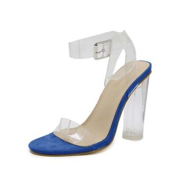 2019 Women Sandals PVC Shoes Simple Style Clear Transparent Strappy Buckle Sandals High Heels Shoes Womanplus Size 35-43