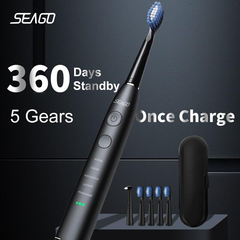 SEAGO – brosse à dents électrique sonique pour adulte, étanche, Rechargeable par USB, autonomie de 360 jours en veille avec 5 têtes de brosse, meilleur cadeau