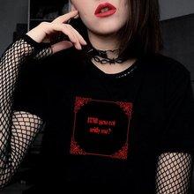 VIP HJN Werden Sie Rot Mit Mir Halloween geschenke Gothic Stil Dark Grunge Unisex T Hölle Teufel Lustige Casual Harajuku schwarz T-Shirt