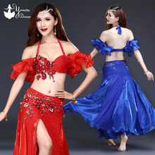 New Belly Dance Costume Set Red Blue Indian Dress Long Adultos Dance Belly Dance Bra Sexy Stage Performance Costume Suit Womens