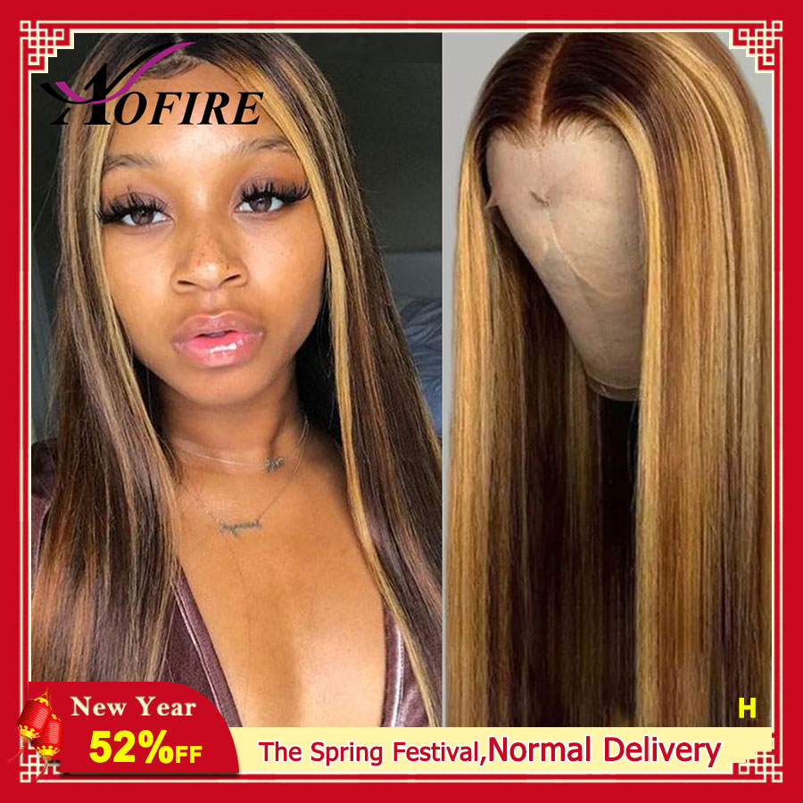Highlight Ombre Honey Blonde Wig 13x6 Lace Front Human Hair Wigs 130 Density Brazilian Remy Hair For Black Women With Baby Hair