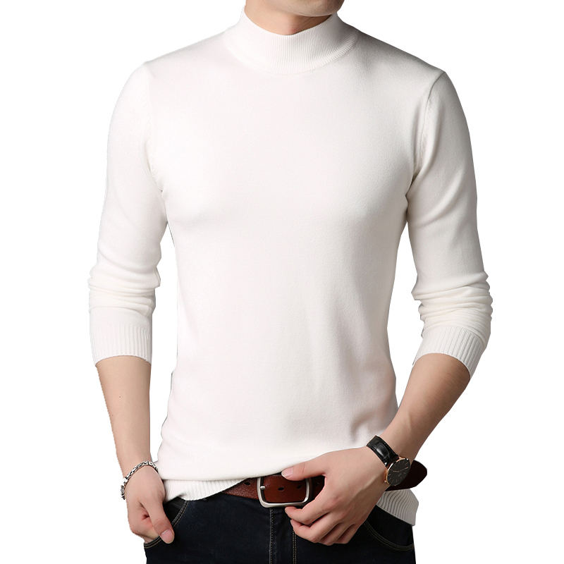 BROWON Men Brand Sweater Colorful Sweater  Slim Fit Sweaters Men Casual Solid Color Turtelneck Sweater Youth Knitwear