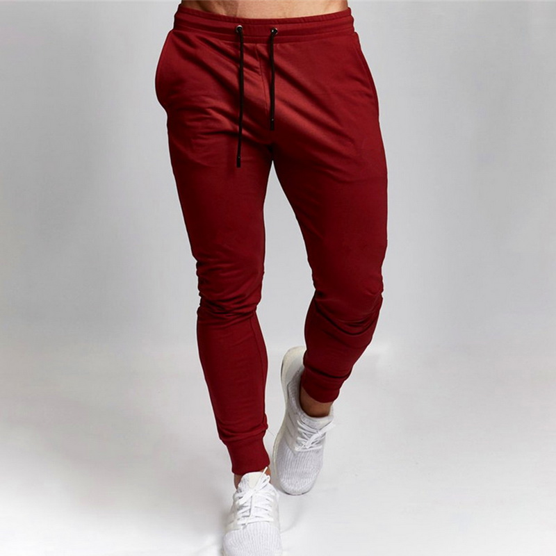 DIHOPE 2020 New Mens Sports And Leisure Trousers Full Length Solid Color Versatile Running Drawstring Training Fitness Pants