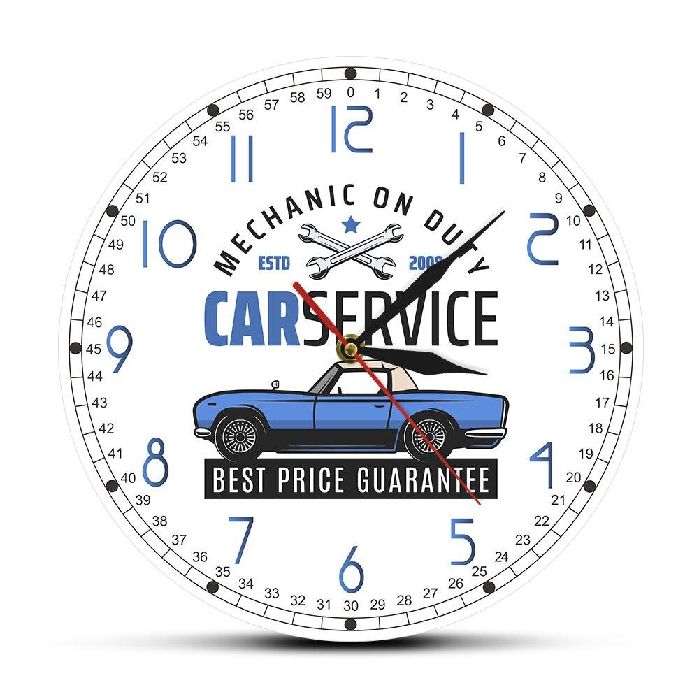 Vintage Garage Service Repair Mechanic On Duty Station Car Automotive Wall Clock Custom Garage Logo Business Brand Wall Watch