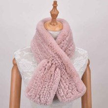 Women  Winter Real Rex Rabbit Fur Scarf Winter Warm Ladies Knit Natural Fur Scarves