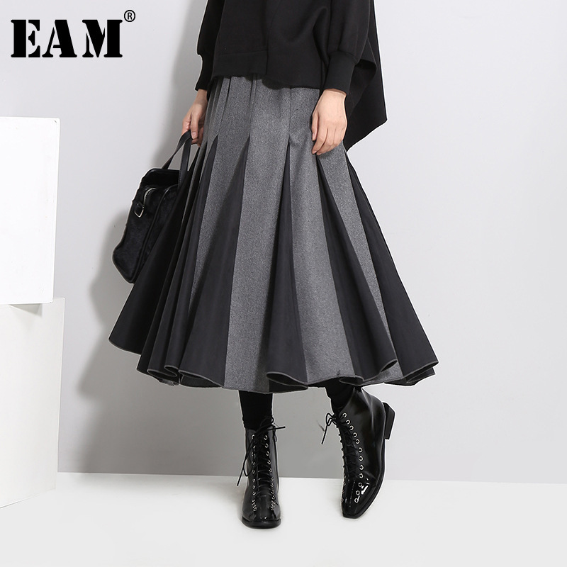 [EAM] High Elastic Waist Gray Split Joint Temperament Woolen Half-body Skirt Women Fashion Tide New Spring Autumn 2020 1D754