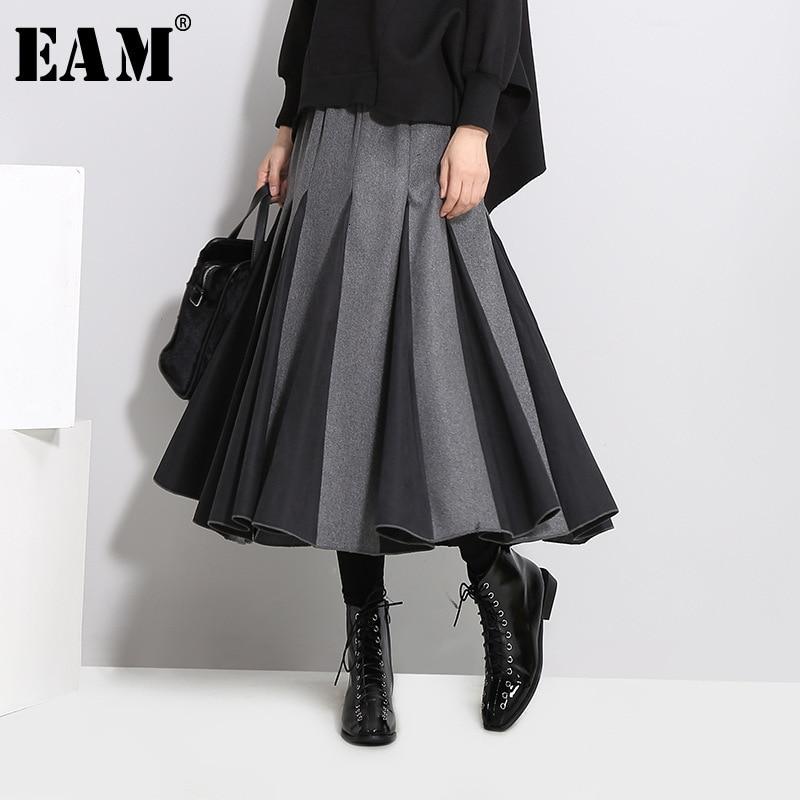 [EAM] High Elastic Waist Gray Split Joint Temperament Woolen Half-body Skirt Women Fashion Tide New Spring Autumn 2020 1D754