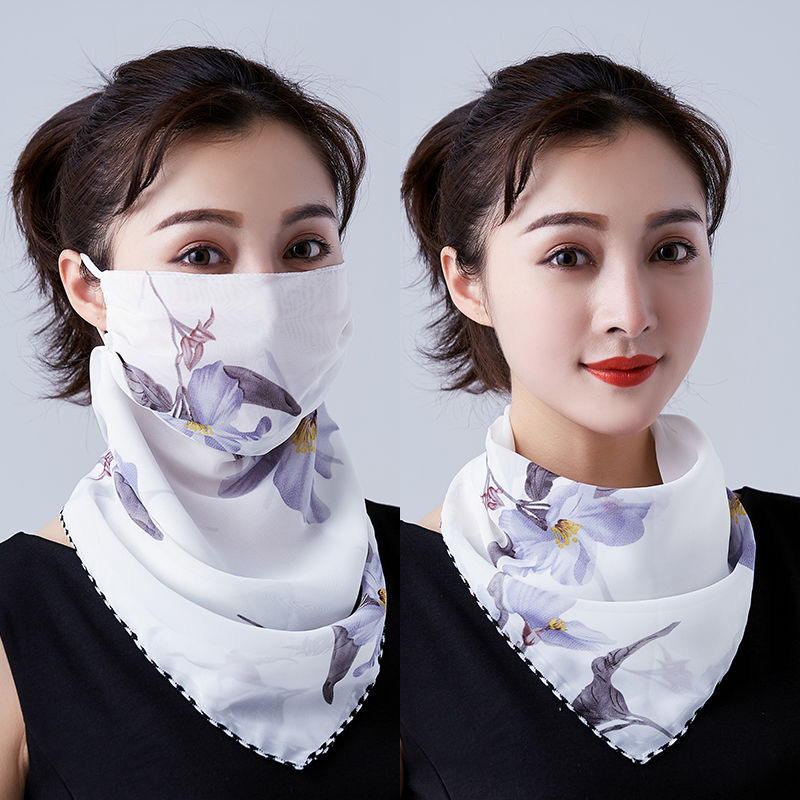 2020 New Style Fashion Summer Sunscreen Mask Women's Double Adjustable Scarf  Female Neck Guard Neck Hanging Ear Veil