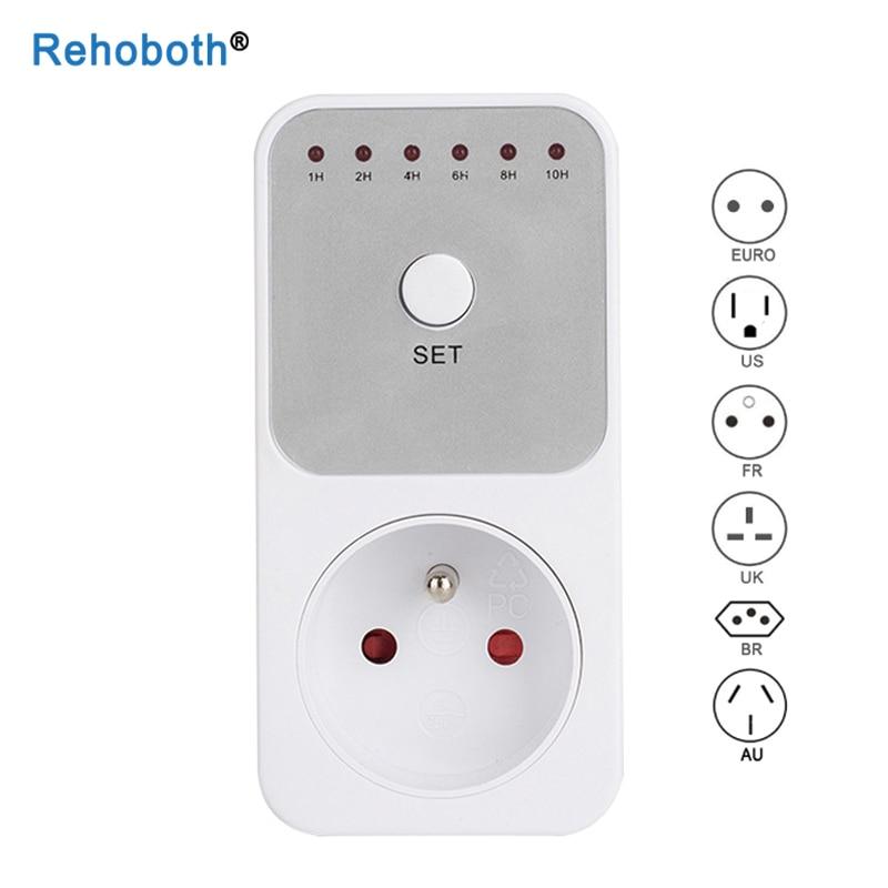 US EU UK 10Hr Countdown Timer Switch Socket Plug Intelligent Time Setting Control Socket Electricity Power Metering Socket