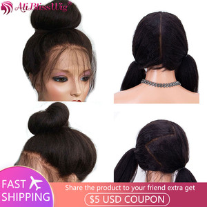 Image 1 - Italian Yaki Full Lace Human Hair Wigs For Black Women Kinky Straight Lace Front Human Hair Wigs Remy Brazilian Pre Plucked
