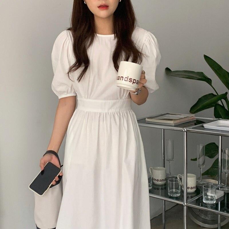 H211dcbd0aeb24e36a578456a255b2554G - Summer O-Neck Short Sleeves Elastic-Waist Calf Length Solid Dress