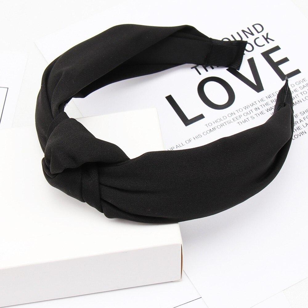 Couleur unie noeud bandeaux pour femmes Simple tissu filles bandeau femmes cheveux accessoires large côté bandeau 52