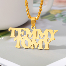 Fashion Gold Chain Two Name Necklace Handmade Stainlessb Steel Custom Pendant Necklaces For Women Men Hip Hop Jewelry