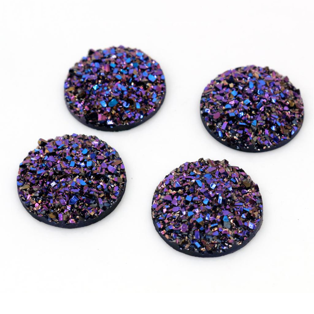 New Fashion 10pcs 20mm Dream Aurora Colors Natural Ore Style Flat Back Resin Cabochons For Bracelet Earrings Accessories-T4-04
