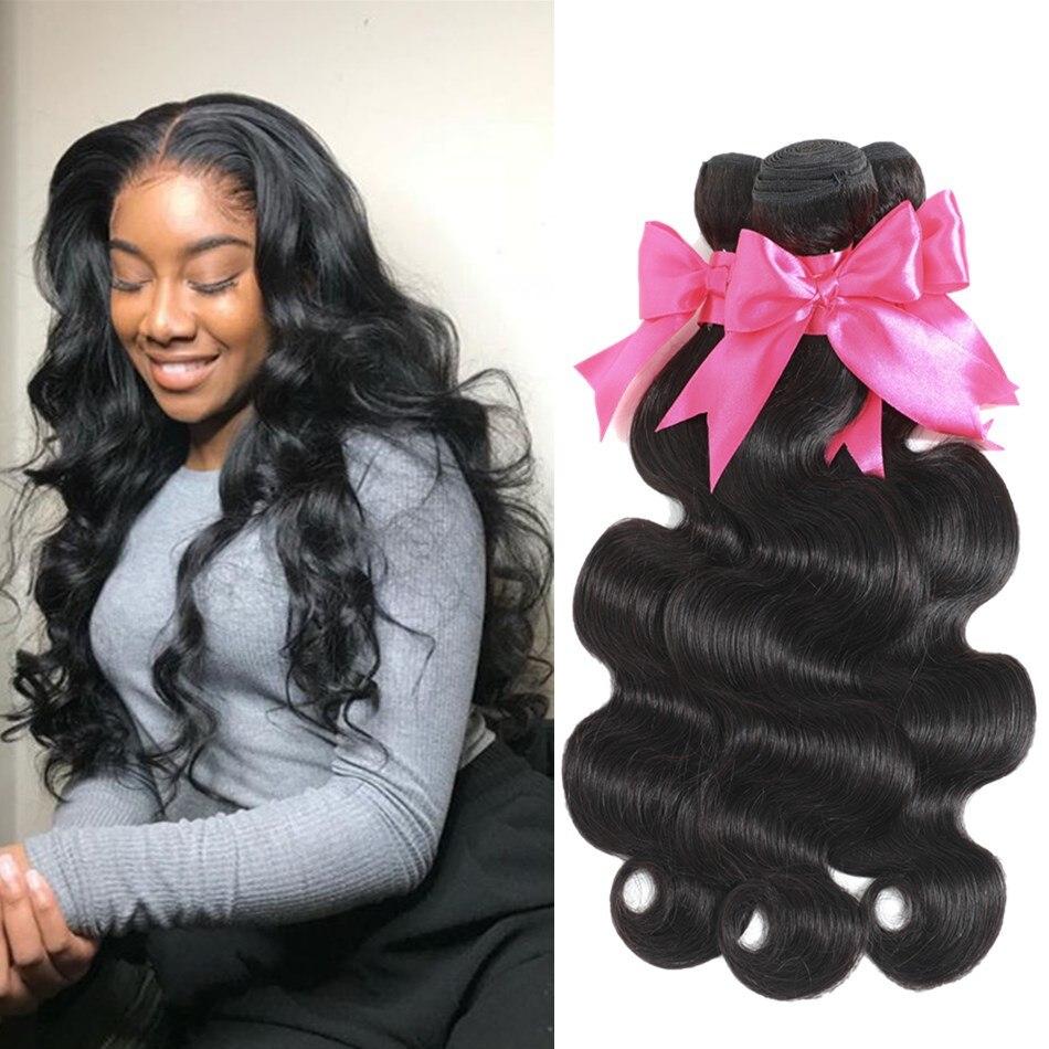LINKELIN волос 30 инч объёмная волна человеческих волос пряди бразильских волос Плетение пучок 100% Волосы Remy расширения натуральный черный могут...