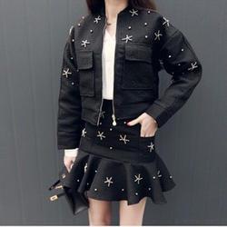 2019 летний женский костюм из двух предметов, Модный корейский стиль, кардиган с карманами и бусинами, Свободный Топ + костюм с короткой юбкой