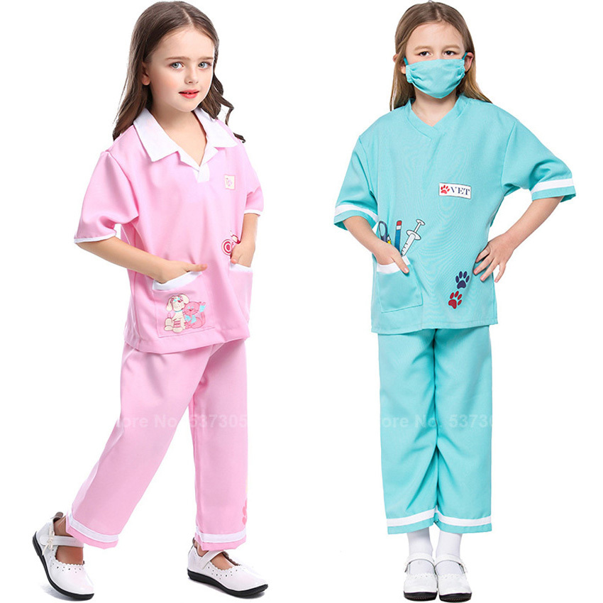 Children Girls Scrub Sets Kids Hospital Medical Uniform Nurse Cosplay Costumes Scrub Tops+pants Vet Doctor Christmas Gift