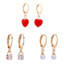 kissme Three Pairs One Set Red Acrylic Heart Imitation Pearl Crystal Drop Earrings For Women Gifts Gold Color Fashion Jewelry(China)