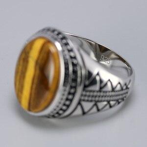 Image 4 - Bague en argent solide pour hommes, bague en argent rétro rétro, avec pierres naturelles doeil de tigre, bijoux turcs 925