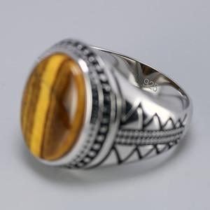 Image 4 - ของแท้ผู้ชายแหวนเงินS925 Retro VINTAGEตุรกีแหวนธรรมชาติTiger Eye Stonesตุรกีเครื่องประดับ 925 เงินเครื่องประดับ