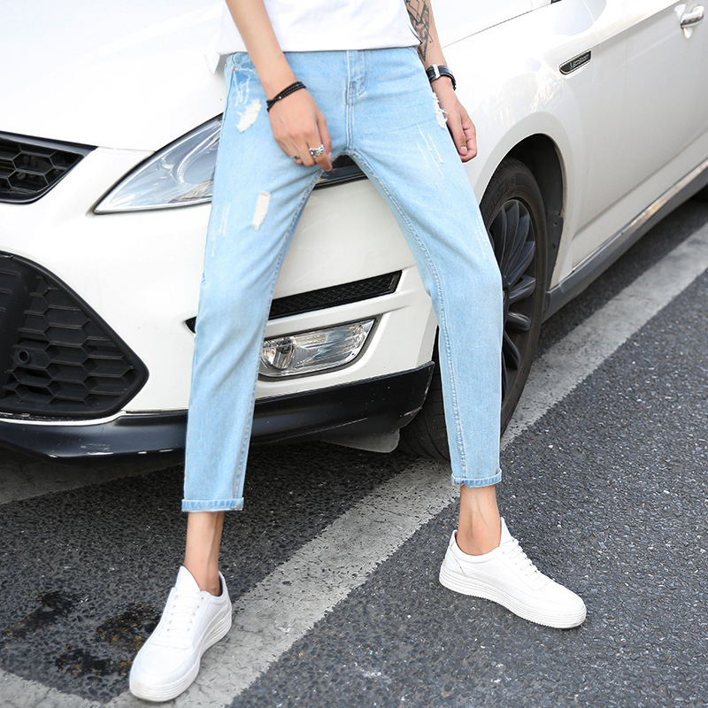 Summer Men With Holes Capri Jeans Ultra-Thin-Korean-style Trend Slim Fit Pants Ripped Jeans Casual Pants Men's