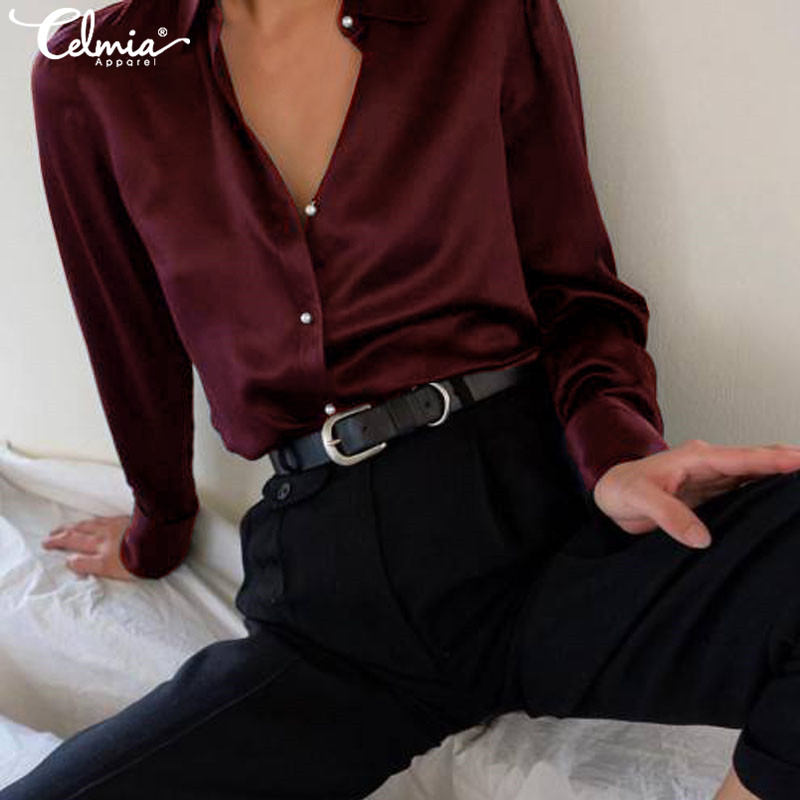 Women Fashion Long Sleeves Satin Blouse Korean Street Shirts 2019 Celmia Elegant OL Office Ladies Tops Silk Blusas Femininas 5XL