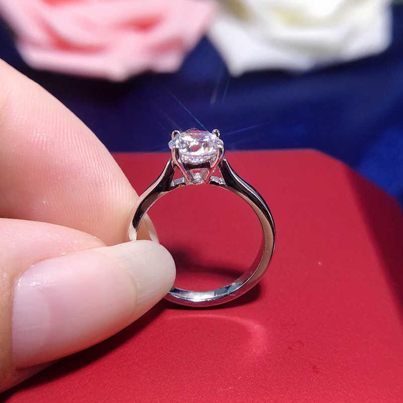 Gratis Dikirim Sertifikat Perak 925 Cincin Asli Putih 18K Emas Pt Pernikahan 2.0ct Zirkonia Diamond Perhiasan Cincin Pertunangan