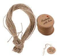 100/200 stücke Handmade mit Liebe Etiketten Hängen Tags Blank Kraft Papier mit 20 m/40 m String tag Etiketten Party Favors Geschenk Heißer Verkauf